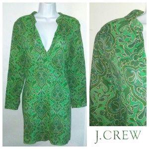 J CREW Green Flora Tunic Dress Size M
